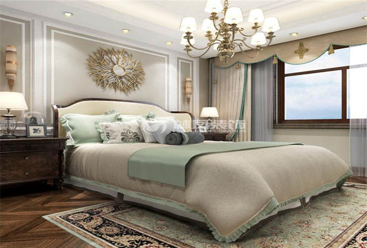 欧式风格卧室床摆放装修效果图