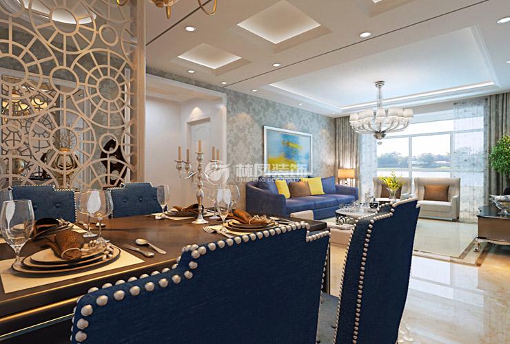 客厅总体是白色为主,辅以灰色的欧式壁纸让整体空间灰白分明,精明干练。蓝色的沙发跳色的抱枕给了整体空间非常年轻的感觉,新古典的沙发柜与电视柜也为总体提升了格调与感觉。沙发背景的装饰画也与沙发的颜色呼应。总体感觉相辅相成,有欧式的华贵感,也有年轻俏皮的生命的气息  古典感觉的棕黑色实木餐桌,辅以蓝色装饰铆钉布艺的餐椅给总体空间提升了一丝质感,蓝色的餐椅也与客厅蓝色的沙发遥相呼应相辅相成,欧式的吊灯与餐厅背景墙相得益彰的表现了本案的欧式气息。