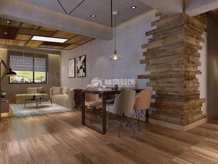 本案整体采用地板砖的方式铺设,因为整个墙面和棚顶都采用了水泥墙的设计,因此地板砖的选择还是采用了温馨一点的颜色,而吊顶的设计结合了背景墙延伸,使之成为一个整体,而电视柜的设计则设计成悬空式,这样看起来既节省空间又方便收拾卫生。  餐厅并不是男主人主要关注的空间,因此餐厅设计在了沙发旁边,方便家里来三五个好友一边吃饭一边可以坐在沙发旁聊天。